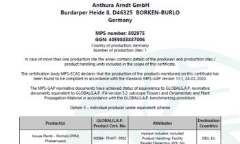 ¡Anthura Arndt tiene la certificación MPS-GAP!